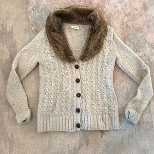 Cream Cardigan with Faux Fur collar